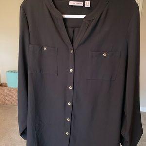 Susan graver black blouse with gold buttons